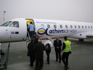 Boarding Athens Airways flight ZF 454